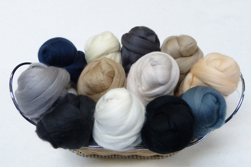 Merino wool Mixed Bag in Neutral Tones.