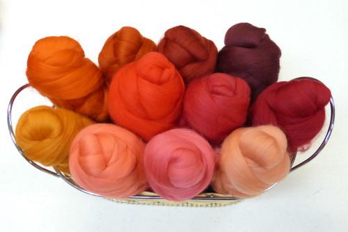 Merino wool Mixed Bag in Orange-Red Tones