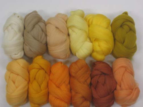 Merino wool Mixed Bag in Yellow Tones.