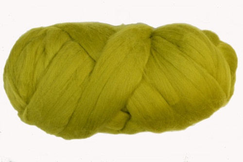 Leatherwood--More traditional chartreuse. A shade darker than Celerytop.  18.5 micron Merino Wool Tops.