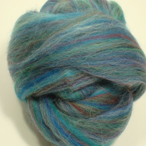 Multi Blue Polwarth wool roving