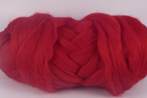 Mulberry--Dark primary red.  18.5 micron Merino Wool Tops.