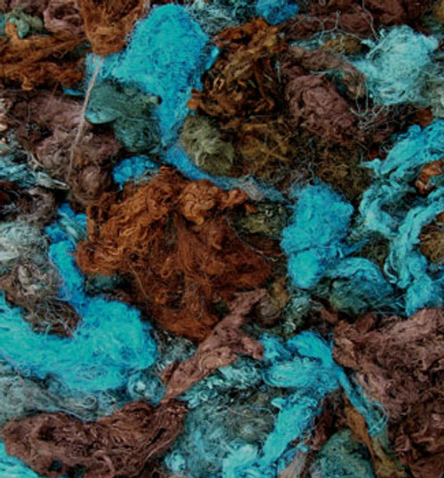 Throwsters waste silk fiber texture for feltmakers.  This dyed color is Indian Ink.
