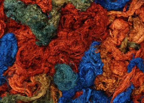 Throwsters waste silk fiber texture for feltmakers.  This dyed color is Kimberley Blue.