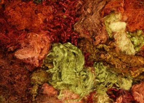 Throwsters waste silk fiber texture for feltmakers.  This dyed color is Outback.