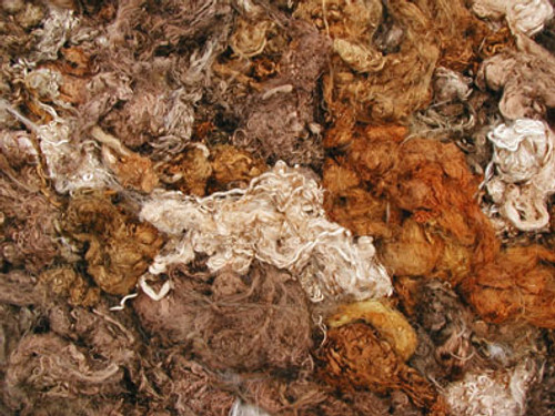 Throwsters waste silk fiber texture for feltmakers.  This dyed color is Paperbark.