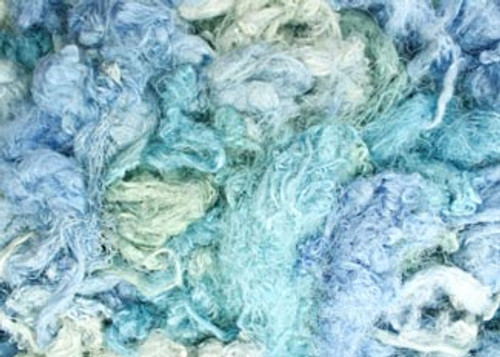 Throwsters waste silk fiber texture for feltmakers.  This dyed color is Perrier.