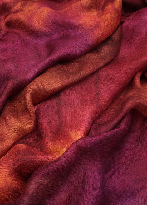 Silk mesh fabric. Open weave, lightweight,  lustrous. Tamarillo color