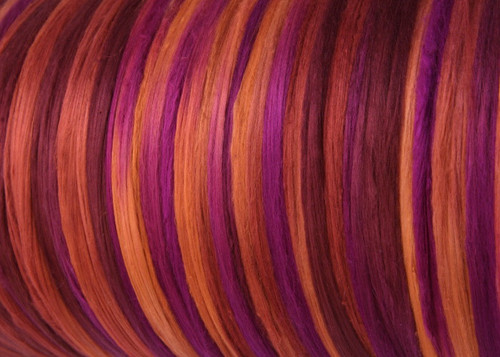 Bombyx silk tops for feltmakers. This dyed color harmony is Tamarillo