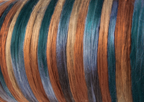 Bombyx silk tops for feltmakers. This dyed color harmony is Walkabout