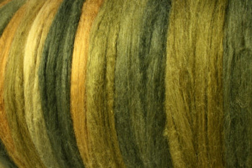 Bombyx silk tops for feltmakers. This dyed color harmony is Machu Picchu