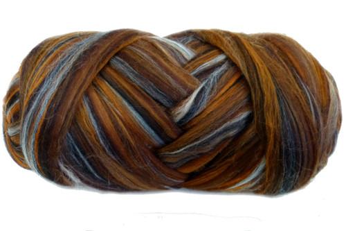 Merino wool blend. Color is Vegemite Sandwich
