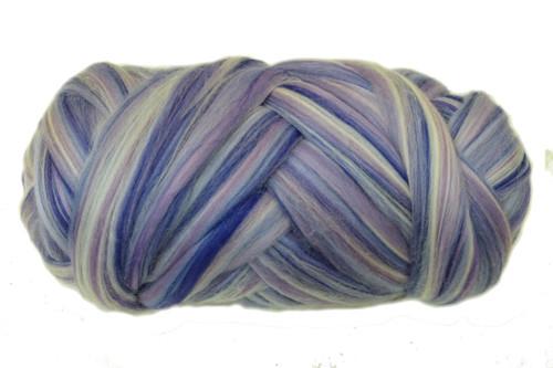 Merino wool blend. Color is Jacaranda