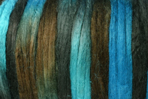 Bombyx silk tops for feltmakers. This dyed color harmony is Indian Ink