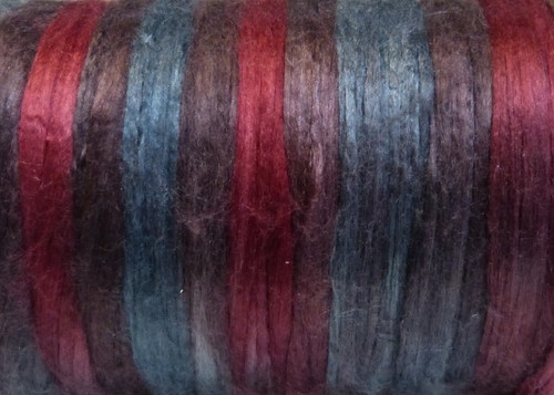 Bombyx silk tops for feltmakers. This dyed color harmony is Banded Iron