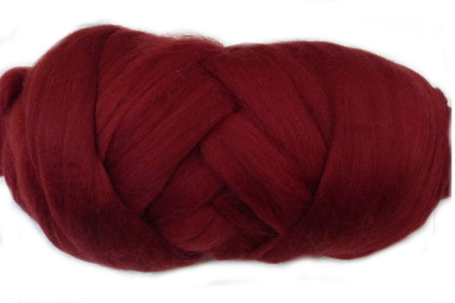 Cranberry--Our darkest shade of red.  18.5 micron Merino Wool Tops.