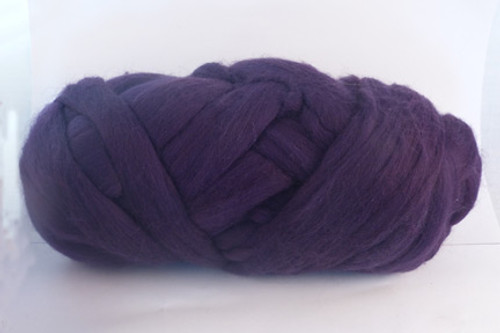 Passionfruit--Dark grape purple.  18.5 micron Merino Wool Tops.