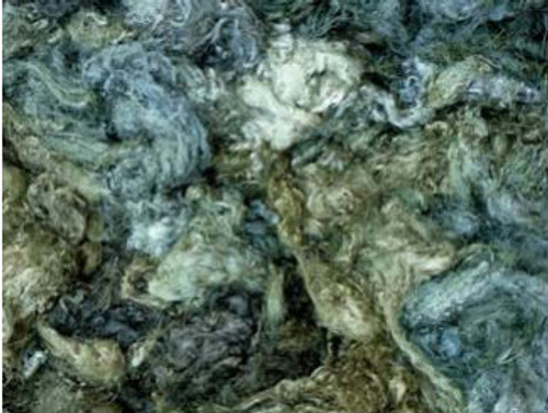 Throwsters waste silk fiber texture for feltmakers.  This dyed color is Silver Princess
