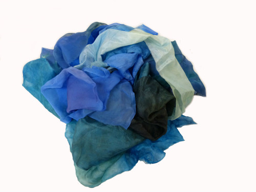 Silk fabric pieces--Blue Tones