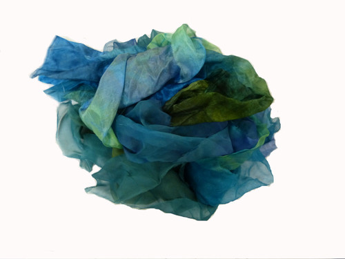Silk fabric pieces--Blue-Green Tones