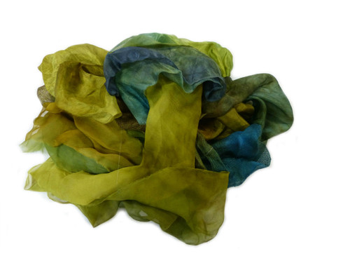 Silk fabric pieces--Green-Gold Tones