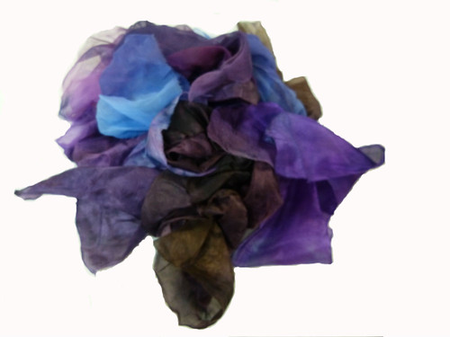 Silk fabric pieces--Purple Tones