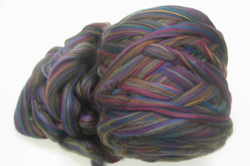 Merino wool blend. Color is Rainbow Lorikeet