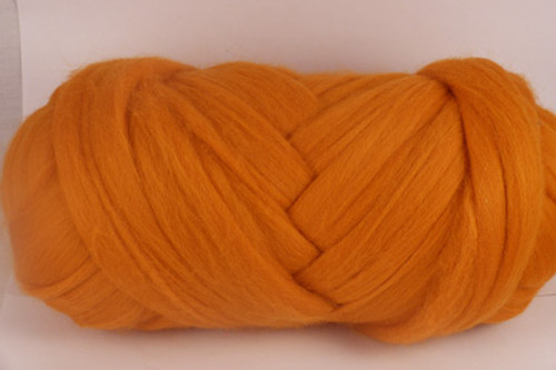 Pumpkin--Standard Halloween pumpkin orange (yellow undertones).  22 micron Merino Wool Tops.