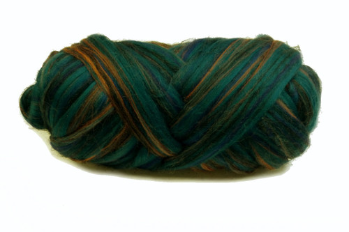 Merino and Flax blended roving.  This color is Kakadu