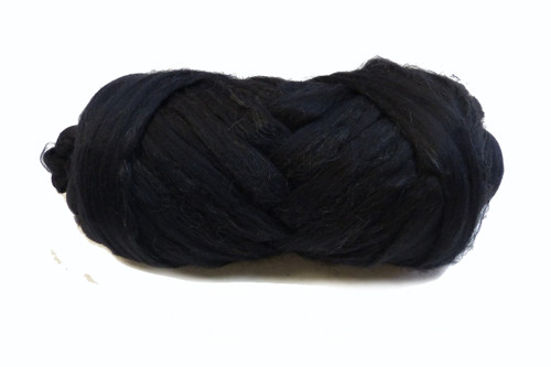 Merino and Flax blended roving.  This color is Midnight