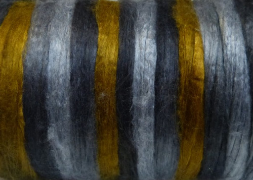Bombyx silk tops for feltmakers. This dyed color harmony is Dijon