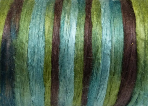 Bombyx silk tops for feltmakers. This dyed color harmony is Limerick