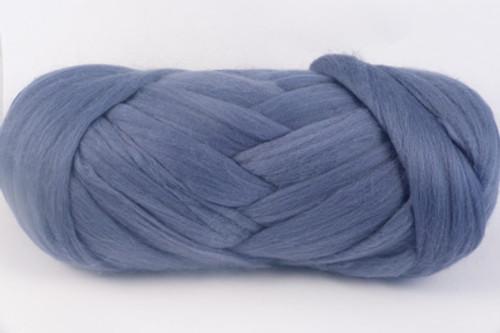 Smokey Blue--Soft slate blue.  18.5 micron Merino Wool Tops.