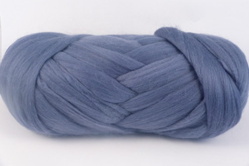 Smokey Blue--Soft slate blue.  18.5 micron Merino Wool Tops.