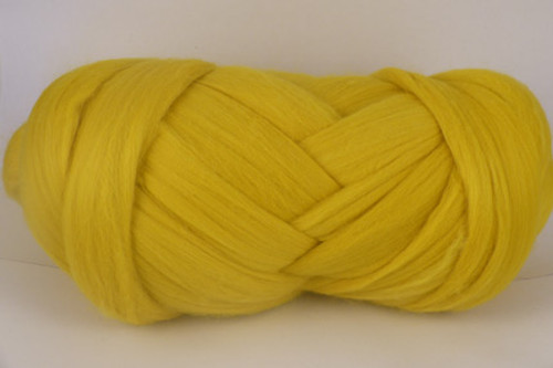 "Sunflower--Bright ""Crayola"" yellow.  18.5 micron Merino Wool Tops."
