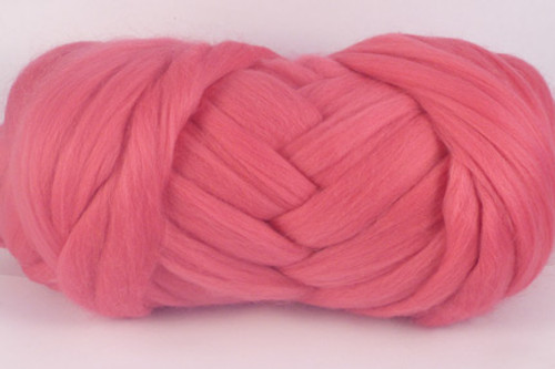 Tea Rose--Mid rose pink.  18.5 micron Merino Wool Tops.