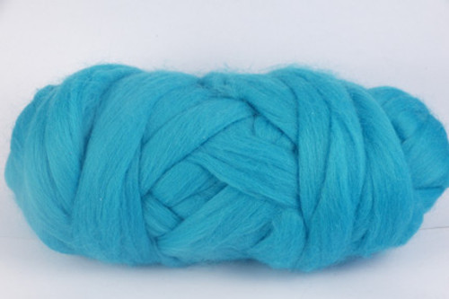Turquoise--Bright turquoise.  18.5 micron Merino Wool Tops.