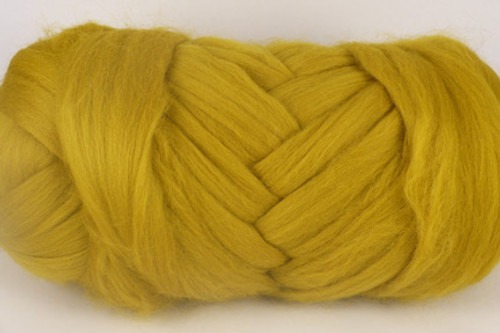 Wattle--Shades of green curry.  18.5 micron Merino Wool Tops.