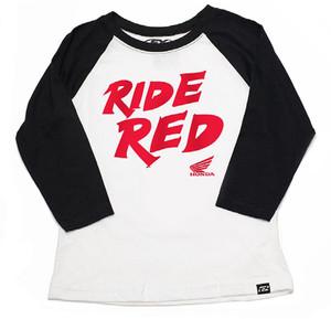 FACTORY EFFEX HONDA RIDE RED YTH BASEBALL SHIRT/ BLACK-WHITE