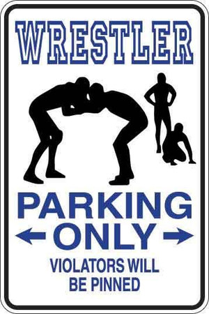 Wrestler Parking Only Sign Decal 1