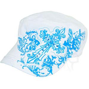 CAP, HIGHWAY HONEY, GOTHIC CROSS, WHITE