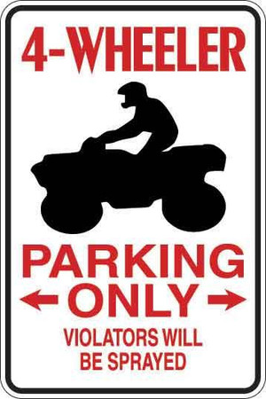 4-Wheeler Parking Only Sign Decal