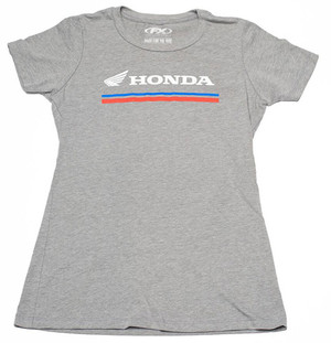 FACTORY EFFEX HONDA STRIPES WOMENS T- SHIRT /HEATHER GRAY