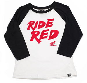 FACTORY EFFEX HONDA RIDE RED YTH BASEBALL SHIRT/ BLACK-WHITE