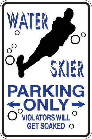 Water Skier Parking Only Sign Decal