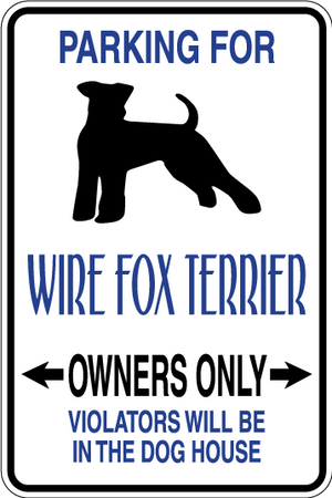 Wire Fox Terrier Parking Only Sign Decal