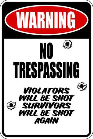 No Trespassing Sublimated Aluminum Magnet