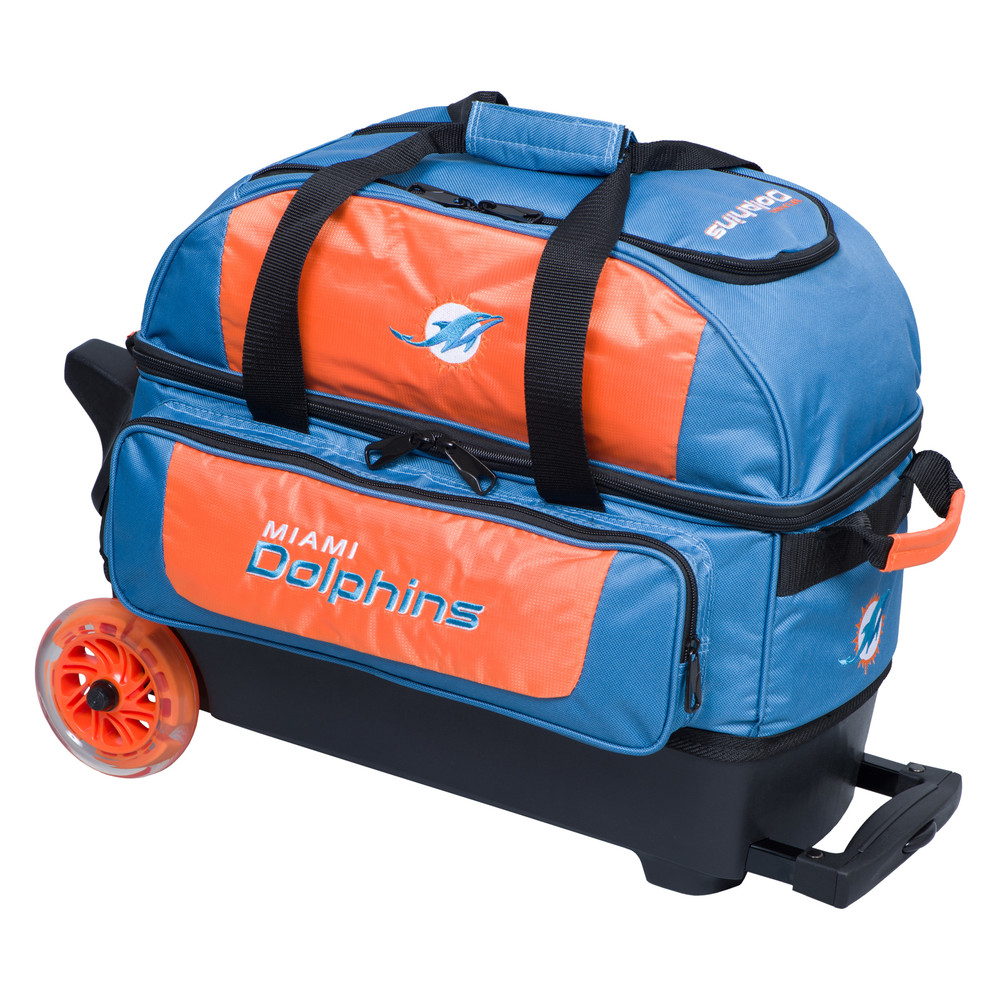 KR NFL 2 Ball Double Rolling Bowling Bag Miami Dolphins