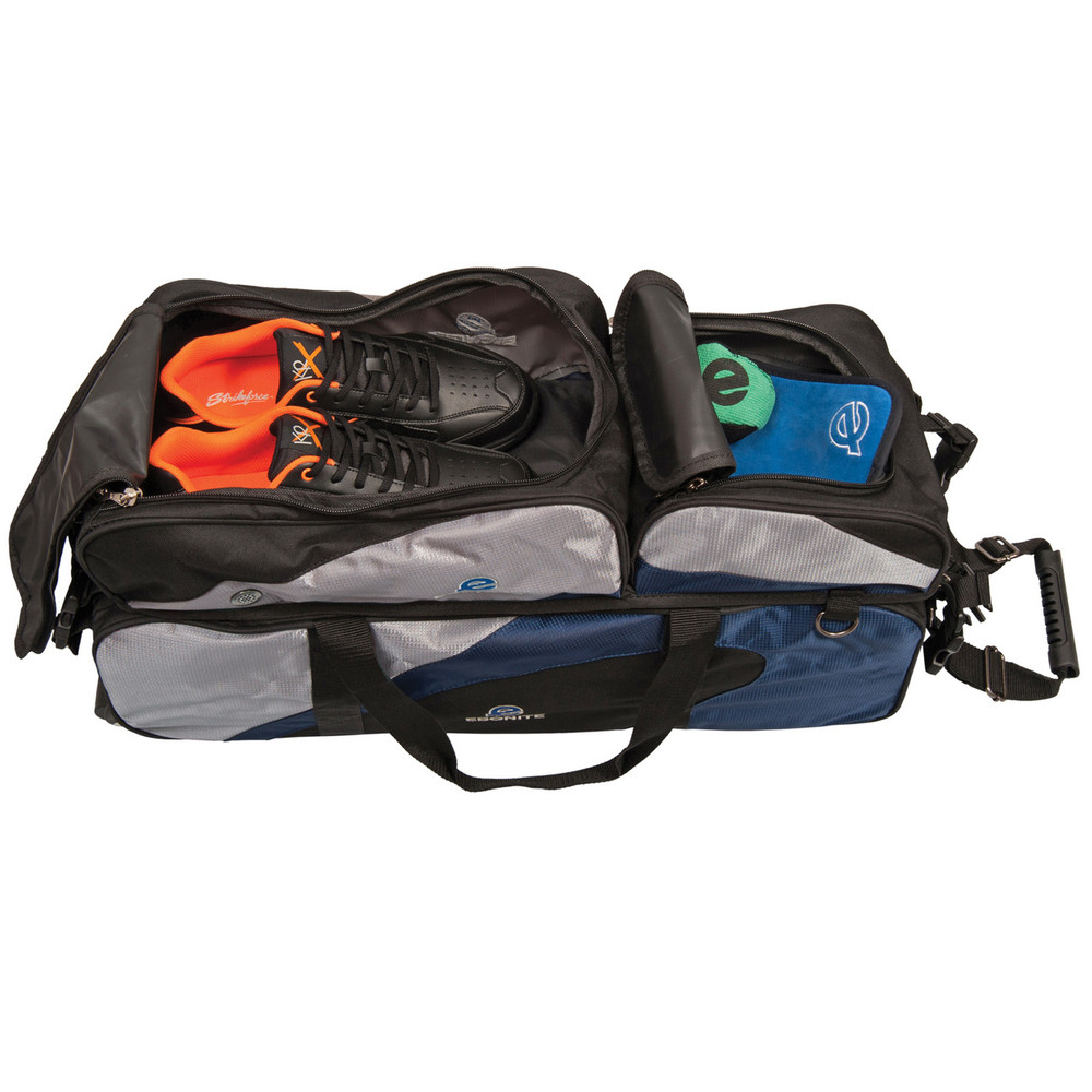 Ebonite 3 Ball Triple Tote with Removable Pouch Blue Silver