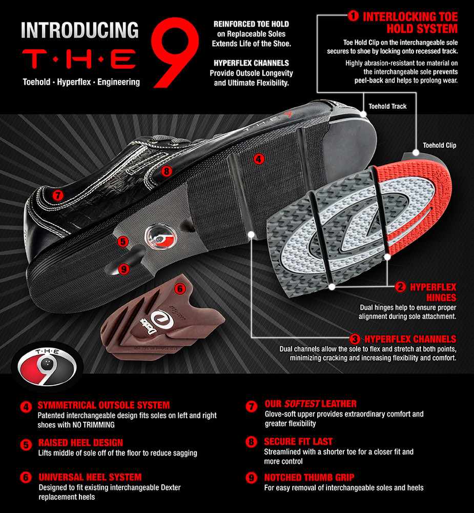 Dexter THE 9 Mens Bowling Shoes Black